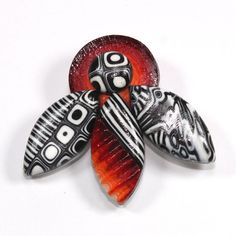 Red white and black brooch polymer clay brooch by ShuliDesigns,