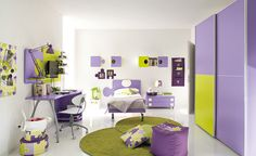 50 Wonderful Children Bedroom Design Ideas With Glossy Purple Wardrobe And Bed Design