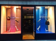 "TOD'S, Pieter Cornelisz Hooftstraat, Amsterdam, The Netherlands, ""Pink & Blue"", (Telling the girls from the boys), photo by Retail Design, pinned by ton van der Veer"