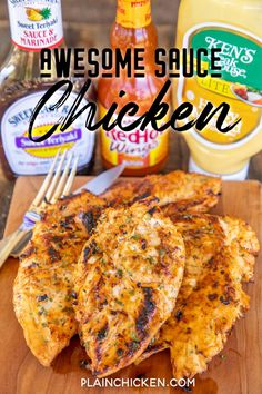 Only 3 ingredients! Chicken marinated in honey mustard, teriyaki sauce, and hot sauce. It tastes AWESOME! Leftovers are great chopped up on top of a salad or in a sandwich wrap. This easy chicken recipe is on Think Food, I Love Food, Good Food, Yummy Food, Tasty, Grilling Recipes, Cooking Recipes, Healthy Recipes, Top Recipes