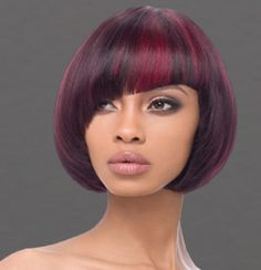 Cranberry bob quick weave with asymmetrical bangs