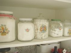 possible DIY to make pretty pictures on glass containers for kitchen?
