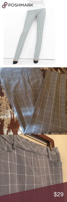 Express columnist work pants Gray windowpane plaid design career pants by Express. Low rise, slim leg. Like new, no flaws, still creased. Size 4R. Express Pants Trousers
