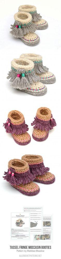 Tassel Fringe Moccasin Booties crochet pattern