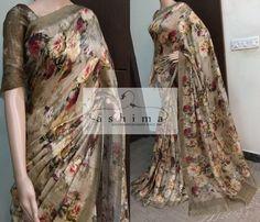 Code:24021814 - Price INR:10600/- , Digital Printed Linen Silk Saree
