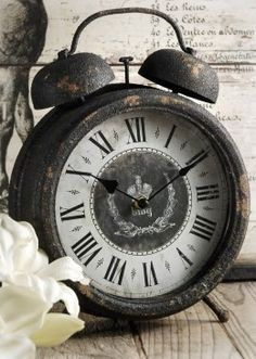 Double Bell Table Clock - LOVE! DIY - use metal rusting techniques and design antique clock face