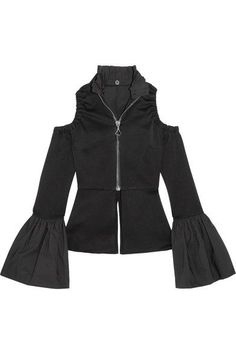 Ellery - Ayumi Cold-shoulder Satin-crepe Blouse - Black - UK