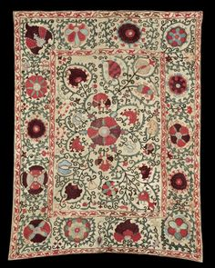 A Samarkand silk embroidered linen Panel (susani)  Uzbekistan, 19th Century rectangular, the natural field embroidered in polychrome silk with a large stylised central rosette with floral vines filling the ground, the borders with bands of stylised flowerheads, trailing foliate borders, backed