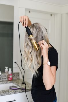 50% off this Bombay curling wand!! Click for the code along with my tutorial on how to curl your hair and add tons of volume! Hair styles | Curled hair tutorial | Hair wand | Curling wand | Best hair products | Black tee | Jeans outfit | Huge deal | Long hair styles | Best styles for long hair
