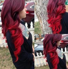 20 Ideas for Red Ombre Hair 20 ideas for red ombre hair. List of red ombre hair colors. Red ombre hair color ideas for a bold new look. Bright Red Hair, Brown Ombre Hair, Ombre Hair Color, Hair Colors, Red Velvet Hair Color, Dark To Red Ombre, Color Red, Red Hair Accessories, Pelo Multicolor