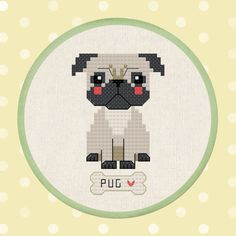 Cute Pug Pet Dog Modern Simple Cute Counted Cross Stitch