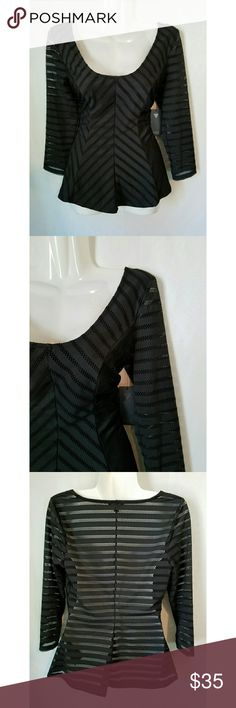 GUESS Black Fishnet Peplum Top - GUESS brand - Size Medium - New with tags - Scoopneck with midsleeves - Peplum hem provides a flattering fit - Offers welcome Guess Tops Blouses