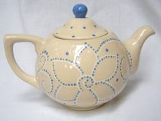 Ceramic Hand Painted Teapot  - beige and blue - Flowers,  Swirls, Dots. $38.50, via Etsy.