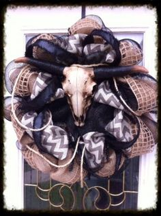 26 Burlap and Mesh Wreath - Chevron Country Western Steer by trendywreathboutique for $154.99