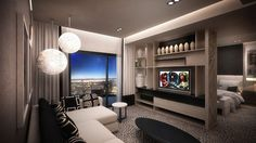 Interior design and decoration of Contemporary African inspired hotel bedroom & lounge area.