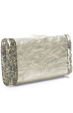 Edie Parker Pearlescent Acrylic Clutch Would be nice for a wedding Fashion Handbags, Tote Handbags, Purses And Handbags, Wedding Clutch, Bling Wedding, Handbag Accessories, Fashion Accessories, Evening Bags, Evening Clutches