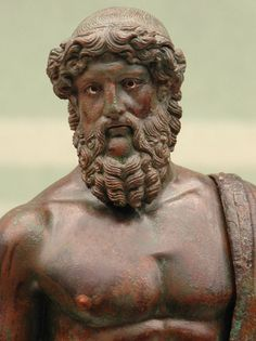 Jupiter with thunderbolt. Detail. Bronze. Roman Age. Inv. No. 2291. Florence, National Archaeological Museum.