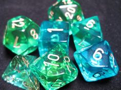 FRP GAMES - PRODUCT - Chessex RPG Dice Sets: Translucent Green-Teal/Gold Gemini Polyhedral 7-Die Set