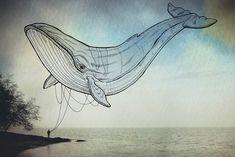 """""""Oceanographies"""", une jolie série decréatures volantes en illustrations sur photographies, nées d'une collaboration entre l'illustratriceGiulia Pex, dont"""