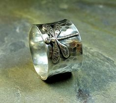 Sterling Silver Dragonfly Ring Wide Band Nature by LavenderCottage