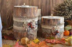 Набор деревянных подсвечников с теплым осенним настроением и неким оттенком ностальгии... Для декора дома или дачи... Для настроения.... для воспоминаний....