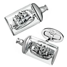 Ship in a Bottle Cufflinks | Intricate Designs | Jan Leslie Cuff Links and Accessories