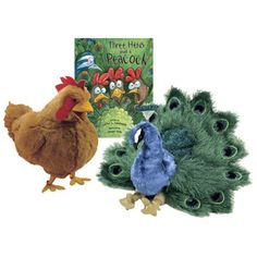 Three Hens and a Peacock Book & 2 Puppets Set
