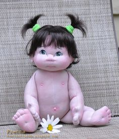 "Little Darling 10'2012. 38 cm / 15"" Soft Sculpture Baby Girl, Child Friendly Cloth Doll."