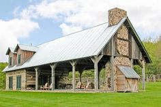 Rustic House Plans, Rustic Barn Homes, Barn Style House Plans, Metal Barn House Plans, Rustic Home Design, Rustic Style, Cabin In The Woods, Pole Barn Homes, Pole Barns