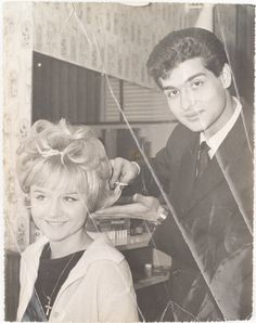 Original photo of Guy Mascolo creating a feminine #updo in the Toni & Guy #salon in the #60s #ToniAndGuy