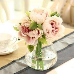 Artificial Peony Flower bouquet, 4 colors-DIY-White-GFT Woodcraft