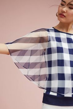 Elsie Blouse by Anthropologie in Blue Size: Xs, Women's Tops Sleeves Designs For Dresses, Sleeve Designs, Blouse Designs, Sewing Clothes, Diy Clothes, Clothes For Women, Robes Vintage, Fashion Details, Fashion Design