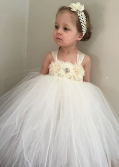 ivory chiffon and ivory lace flower girl toddler by AnaBeanDesigns