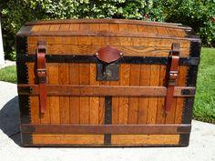 Rare Early Excelsior Oak Slat Antique Trunk  by HMSAntiqueTrunks