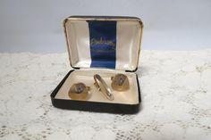 Vintage Embassy Tie Bar and Cuff Links In Box Blue Rhinestone Men's Jewelry by KansasKardsStudio on Etsy