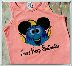 Dory with Mickey ears, Finding Nemo inspired tank top,  Disney tank top or tee