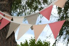 Fabric Wedding Bunting in Coral, Apricot, Blush, Taupe