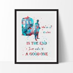 Description Created in an impressionistic + splattered watercolor style, this high quality art print will make those walls pop! This is a handmade print and artistic expression with variations in grai Nursery Art, Geek Nursery, Nursery Ideas, Childrens Wall Art, Doctor Who Poster, Doctor Who Quotes, Baby Boy Nurseries, Doctor Who Baby, Doctor Who Nursery