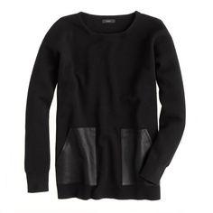 J.Crew Merino leather-pocket sweater found on Polyvore
