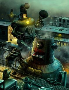 330c8bd712dd34934ed097934c6dc46a--steampunk-artwork-steampunk-robots.jpg (650×849)