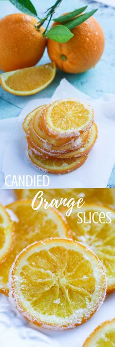 Orange Slices are bright and delightful! You'll enjoy these candied orange slices on a dreary day! Fruit Recipes, Candy Recipes, Dessert Recipes, Cooking Recipes, Orange Recipes, Healthy Recipes, Candied Orange Slices, Candied Fruit, Homemade Candies