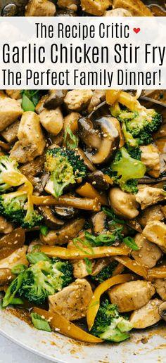 Garlic Chicken Stir Fry, Garlic Sauce, Stir Fry With Chicken, Healthy Chicken Stir Fry, Dinner Dishes, Food Dishes, Main Dishes, Asian Recipes, Healthy Recipes