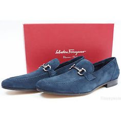 Salvatore Ferragamo Tapas Mens Blue Gray Suede Loafers Shoes