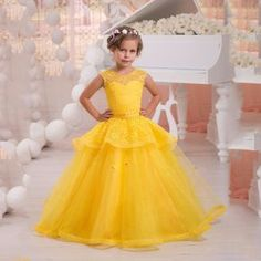 Find More Flower Girl Dresses Information about Bright Yellow Flower Girl Dress Pageant Ball Gowns for Girls Lace…
