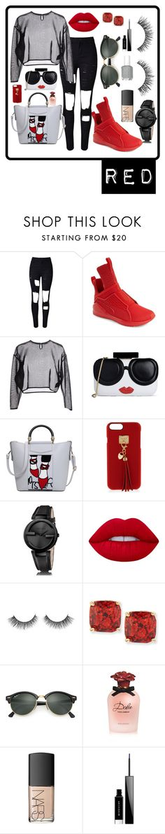 """Red Tab"" by mayygoo ❤ liked on Polyvore featuring WithChic, Puma, Yves Saint Laurent, Alice + Olivia, Henri Bendel, Gucci, Lime Crime, Kate Spade, Ray-Ban and Dolce&Gabbana"