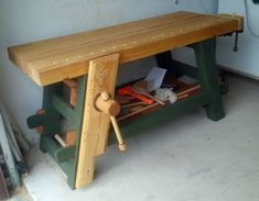 Our August 2015 Workbench of the Month comes to us from Ron G. from Wellington, Florida. Ron has built a great Moravian Workbench with a leg vise that is patterned off of our good friend Will Myer… Craftsman Workbench, Workbench Plans, Woodworking Workbench, Lumber Storage, Tool Storage, Woodworking As A Hobby, Woodworking Projects Plans, Woodworking Classes, Welding Projects