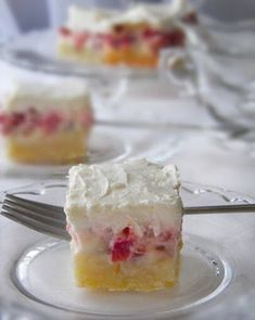 Rhubarb Custard Bars, Desserts, I have talked about my grandmother's baking and her recipes in past posts on Dulce Dough. I can't help but think of her every single time . Brownie Desserts, Oreo Dessert, Mini Desserts, Coconut Dessert, Rhubarb Desserts, Dessert Bars, Just Desserts, Dessert Recipes, Bar Recipes