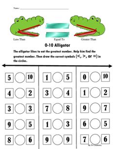 Comparing Numbers and Greater Than, Equal, and Less Than Worksheets. Great for CCSS and standards. Homeschool Worksheets, Free Kindergarten Worksheets, Kindergarten Learning, Preschool Math, Math Addition Worksheets, English Worksheets For Kids, Kindergarten Coloring Pages, Math Sheets, Math School