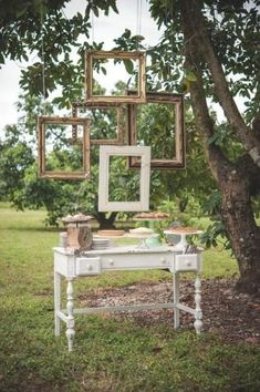 Add some creeping greenery in various places. hanging frame installation: 5 large picture frames suspended from a tree or other hang point. Wedding Picture Frames, Hanging Picture Frames, Hanging Pictures, Wedding Frames, Tree Wedding, Diy Wedding, Rustic Wedding, Photo Booth, Backdrops