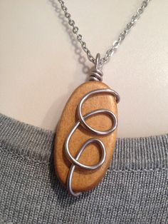 Wire Wrap Pendant Necklace-Wood Oval on Etsy, $18.00